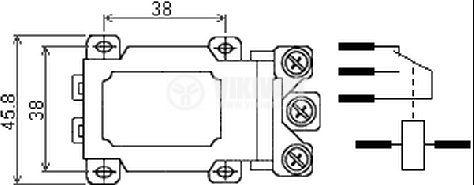 Реле електромагнитно силово бобина 12VDC 250VAC/63A SPDT NO+NC  JQX-60F - 2