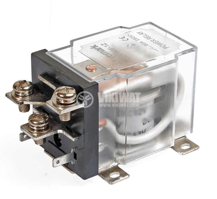 Реле електромагнитно силово бобина 12VDC 250VAC/63A SPDT NO+NC  JQX-60F - 1