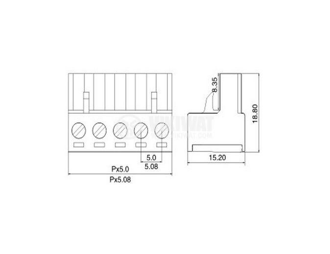 Женски конектор, терминален блок 5 mm, VF2EDGK - 5, 3pin, 15A - 2