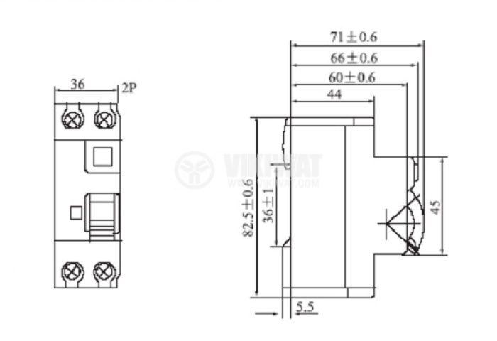 Дефектнотокова защита 2P GDL7-63, 25 A, 15 mA - 7