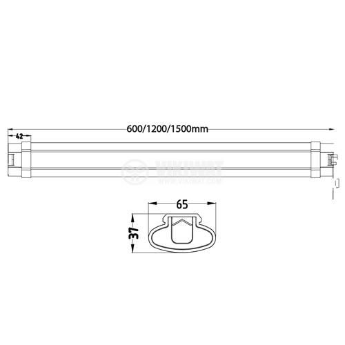 Wateproof LED wall lamp PROLINE-IP 45W, 220VAC, 3700lm, 4200K, natural white, IP65, 1500mm, BT02-01510 - 5