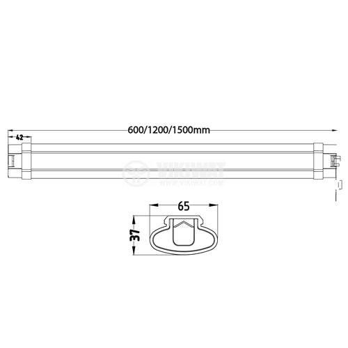 Влагозащитена LED лампа за стена PROLINE-IP, 45W, 220VAC, 3700lm, 4200К, неутрално бяла, IP65, 1500mm, BT02-01510 - 5