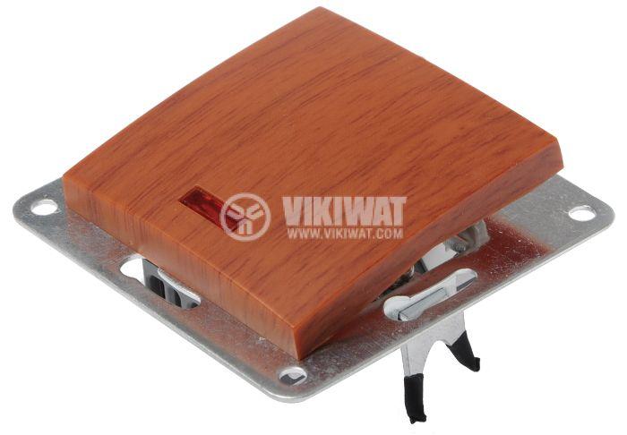 Електрически ключ, LEXA LM, за вграждане, сх.6, девиаторен, 10A, 250VAC, дървесен, светещ