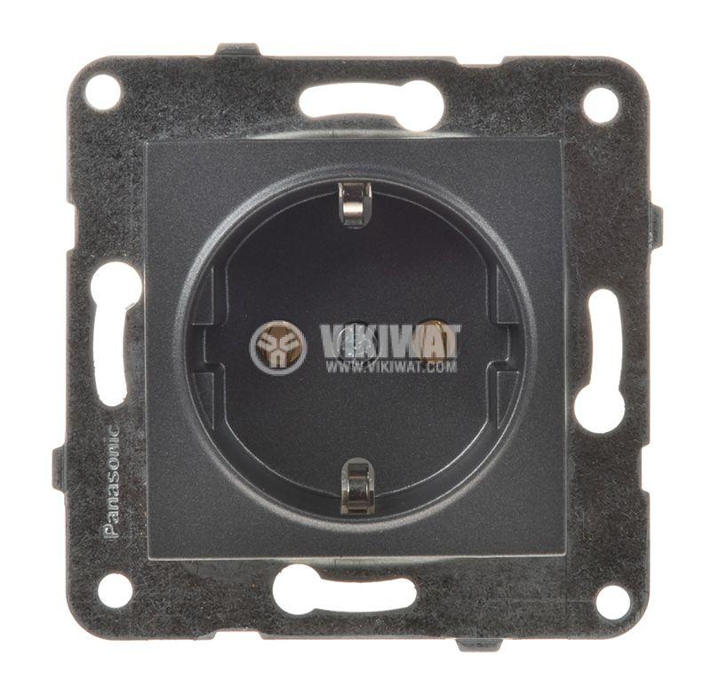 Power electrical socket, 2P+E, Karre Plus, Panasonic, 16A, 250VAC, dark gray, build-in, schuko, WKTT0202-2DG, mechanism+rocker - 1
