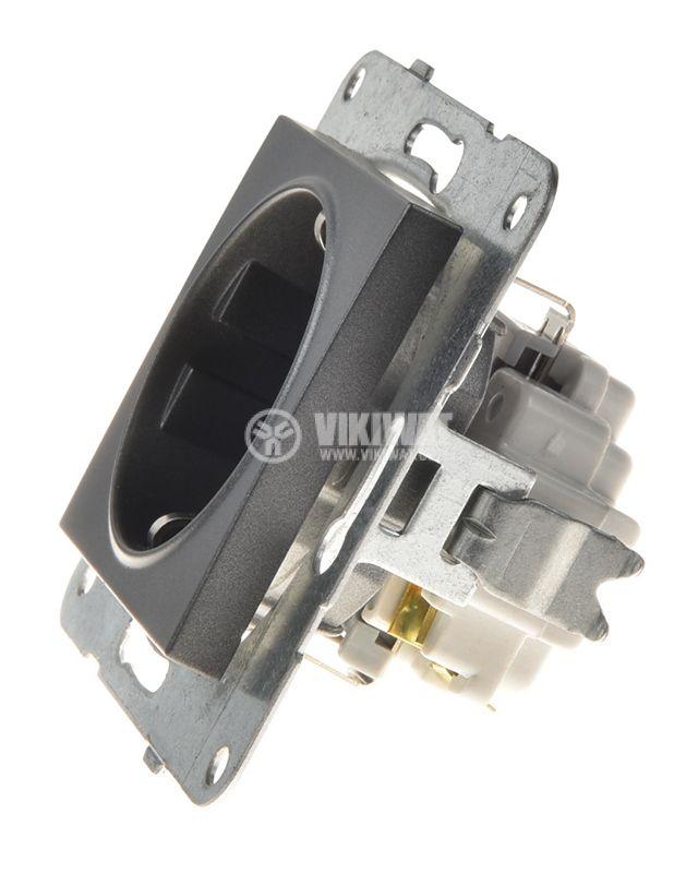 Power electrical socket, 2P+E, Karre Plus, Panasonic, 16A, 250VAC, dark gray, build-in, schuko, WKTT0202-2DG, mechanism+rocker - 2