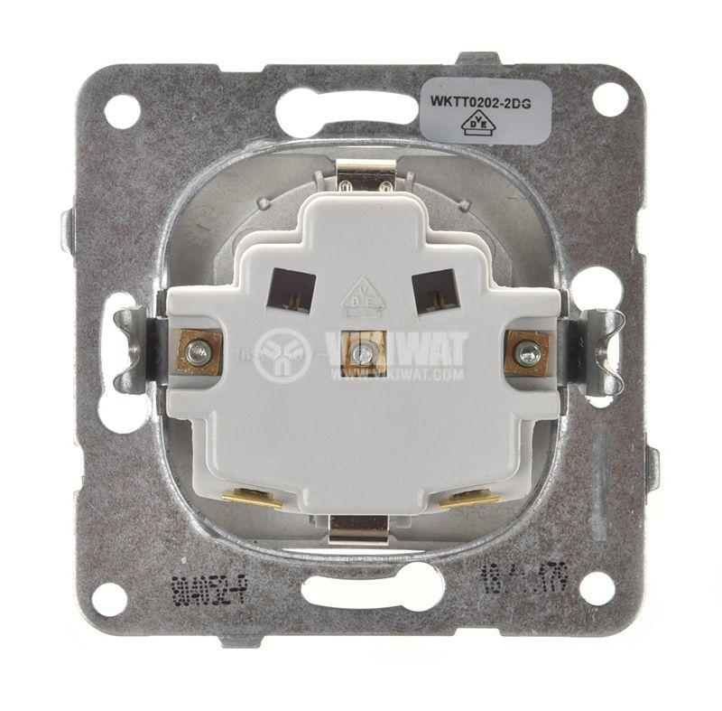 Power electrical socket, 2P+E, Karre Plus, Panasonic, 16A, 250VAC, dark gray, build-in, schuko, WKTT0202-2DG, mechanism+rocker - 3