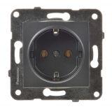 Power electrical socket, 2P+E, Karre Plus, Panasonic, 16A, 250VAC, dark gray, build-in, schuko, WKTT0202-2DG, mechanism+rocker