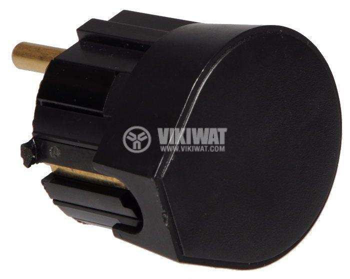 "Щепсел триполюсен тип ""Шуко"", 220VAC,16А, 90° , PVC, месинг - 2"