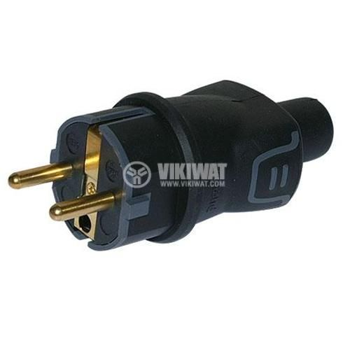 Mains plug (type F, schuko), 16А, 230VAC, black, rubber, straight, IP44, LEGRAND 50342 - 2