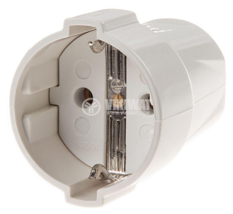 Гнездо - шуко, единично, 250VAC, 16А, бяло, пластмаса, ф50x57mm - 1