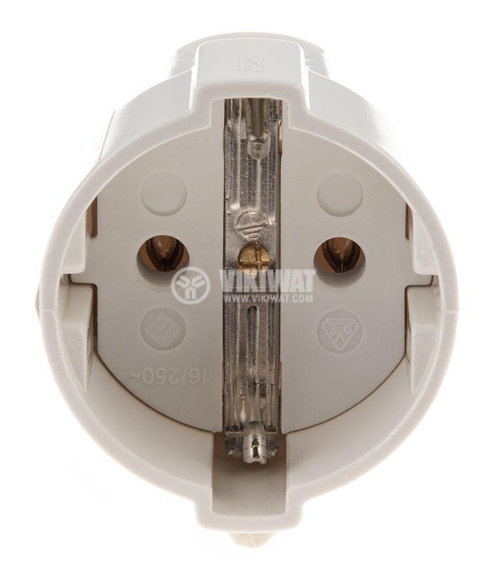 Гнездо - шуко, единично  250VAC, 16А, бялор пластмаса ф50x57mm - 2