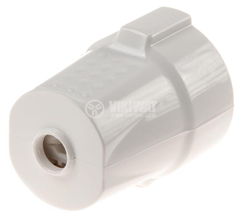 Гнездо - шуко, единично, 250VAC, 16А, бяло, пластмаса, ф50x57mm - 3