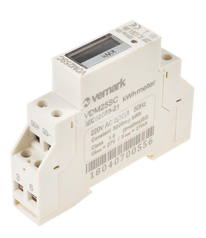 Електромер, еднофазен, еднотарифен ADM25SC, 5 (30 А) LCD, за DIN шина, цифров - 2