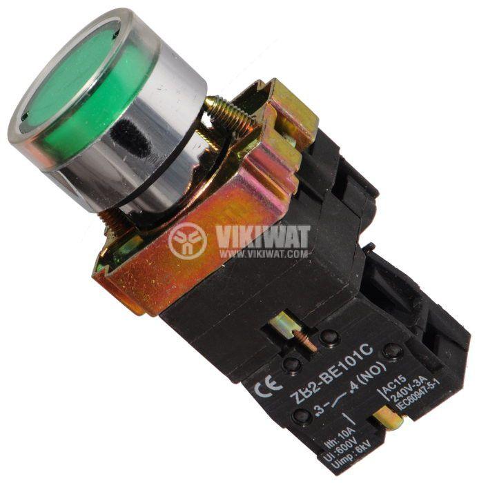 Бутон LAY5-BW3371 400VAC/10A SPST - NО зелен, светещ 110V LED - 1