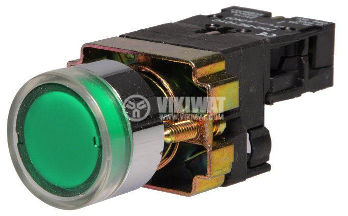 Бутон LAY5-BW3371 400VAC/10A SPST - NО зелен, светещ 110V LED - 2