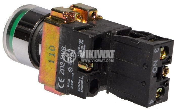 Бутон LAY5-BW3371 400VAC/10A SPST - NО зелен, светещ 110V LED - 3