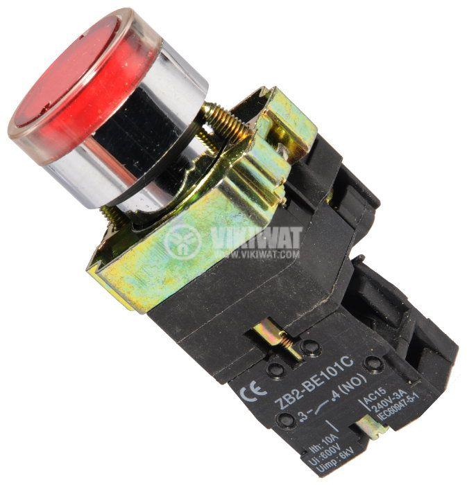 Бутон LAY5-BW3471 400VAC/10A SPST - NO червен 110V LED - 1
