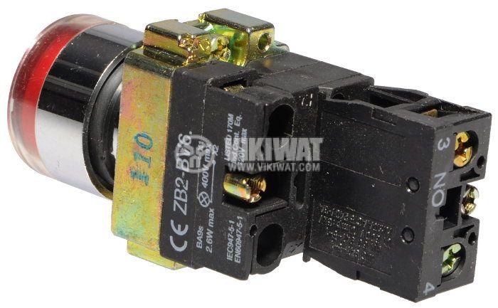 Бутон LAY5-BW3471 400VAC/10A SPST - NO червен, светещ 110V LED - 2