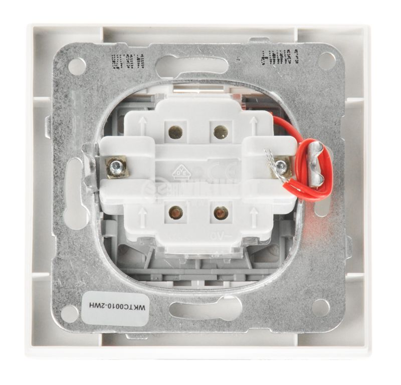 Double electrical switch, Panasonic, circuit 5, 10A, 250VAC, white, illuminated - 6