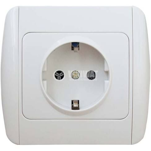 Power Electrical Socket, 250 VAC, 16 A, white - 1