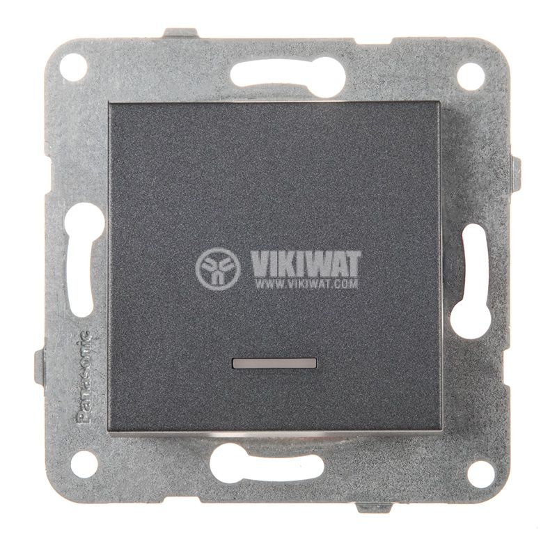 One-way Switch, illuminated, Karre Plus, Panasonic, 10A, 250VAC, dark gray, WKTT0002-2DG, mechanism+rocker - 1