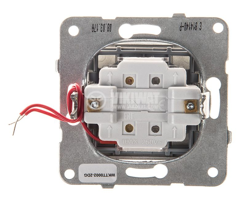 One-way Switch, illuminated, Karre Plus, Panasonic, 10A, 250VAC, dark gray, WKTT0002-2DG, mechanism+rocker - 3