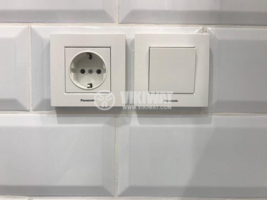 Бели електрически ключове и контакти Панасоник Каре Плюс, за вграждане в стена, схема 1, WKTC0001-2WH - 3