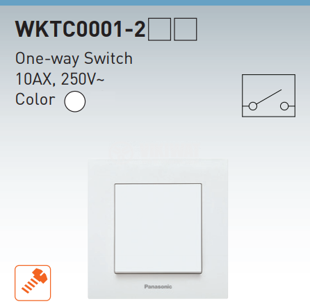 Електрически ключ, Karre Plus, Panasonic, единичен, схема 1, 10А, 250VAC, за вграждане, бял, WKTC00012WH - 8