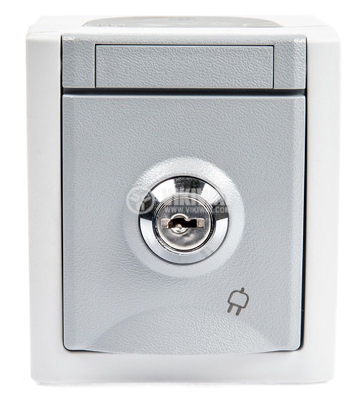 Electrical contact with lockable cover, single, 16A, 250VAC, IP54, for external mounting, gray, shuko - 1