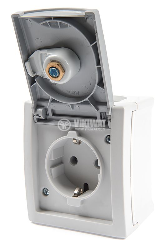 Electrical contact with lockable cover, single, 16A, 250VAC, IP54, for external mounting, gray, shuko - 4