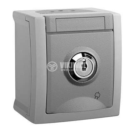Electrical socket with lockable cover, Pacific, Panasonic, single, 16A, 250VAC, IP54, for outer mounting, grey, WPTC42192GR - 1