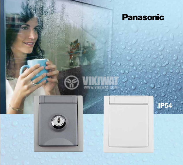 Electrical socket with lockable cover, Pacific, Panasonic, single, 16A, 250VAC, IP54, for outer mounting, grey, WPTC4219-2GR - 2