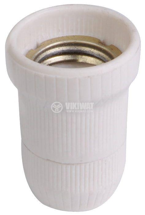 Lamp holder E27, porcelain - 1