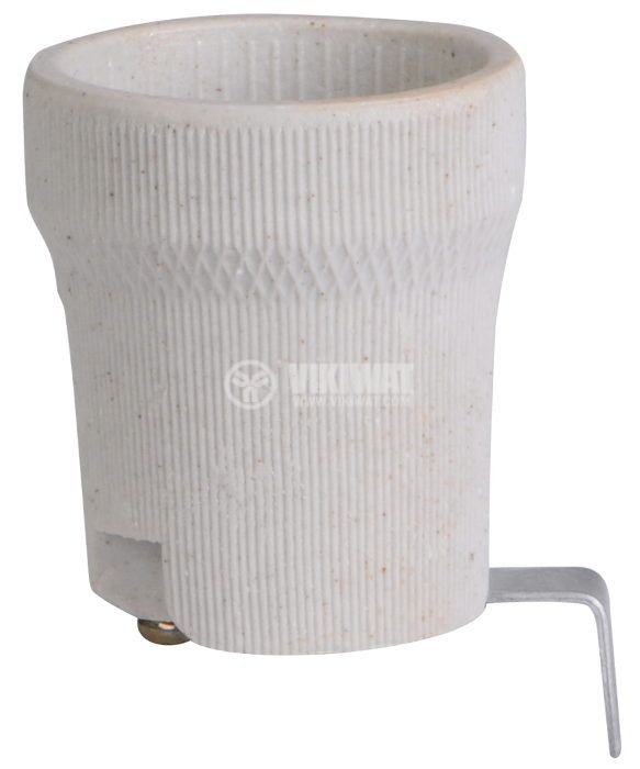 Фасунга E27, керамична, бяла, за вграждане, с планка