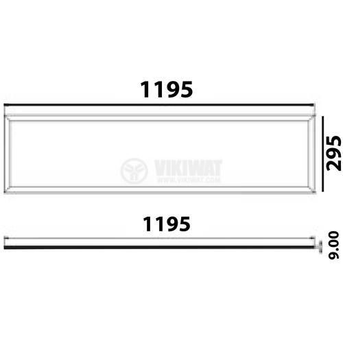 Recessed LED Panel 40W, 220VAC, 3400lm, 6500K, cold white,  1200x300mm, SLIM, BP16-33130 - 2