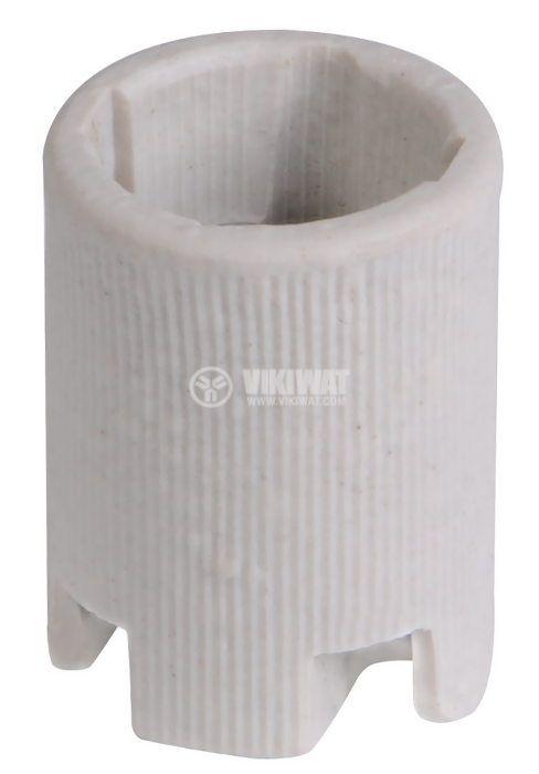 Фасунга E14, керамична, бяла, за вграждане