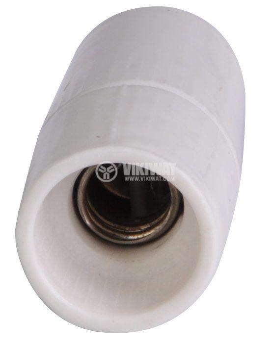Фасунга E14, керамична, бяла, за висящ монтаж - 2
