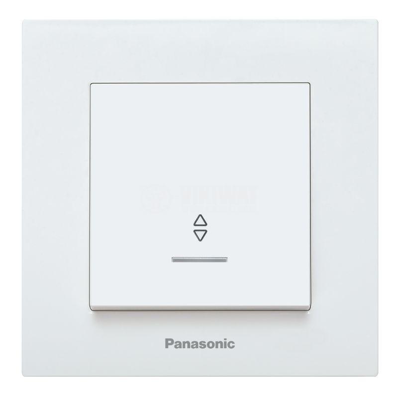 Two-way switch, complete, Karre Plus, Panasonic, 10A, 250VAC, white, illuminated, WKTC0004-2WH