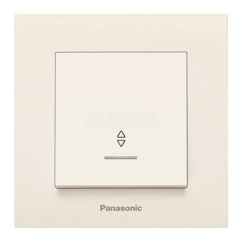 Електрически ключ, Karre Plus, Panasonic, девиаторен, схема 6, 10A, 250VAC, за вграждане, крем, светещ, WKTC0004-2BG