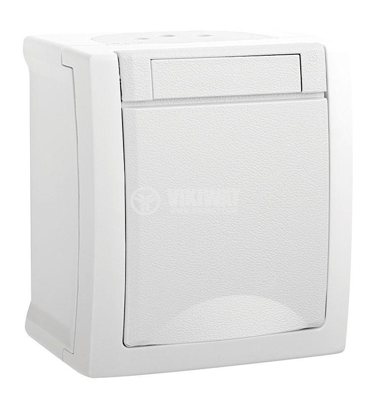 Електрически контакт с капак, Pacific, Panasonic, единичен, 16A, 250VAC, IP54, за външен монтаж, бял, шуко,  WPTC4212-2WH