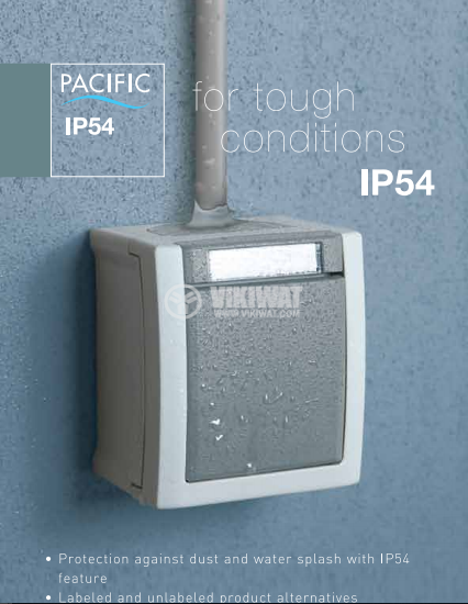 One-way switch, Pacific, Panasonic, 10A, 250VAC, surface mounting, IP54, grey, WPTC4001-2GR - 2