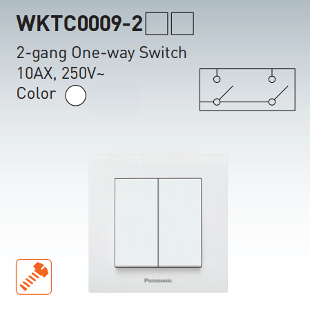 2-gang one-way switch, complete, Karre Plus, Panasonic, 10A, 250VAC, white, WKTC00092WH - 7