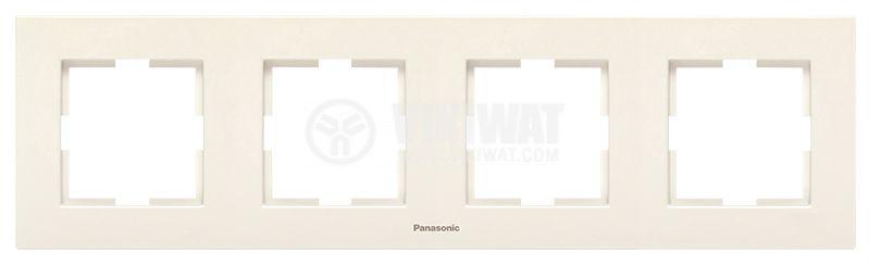 Рамка, Karre Plus, Panasonic, четворна, хоризонтална, 81x296mm, крем, WKTF0804-2BG - 1