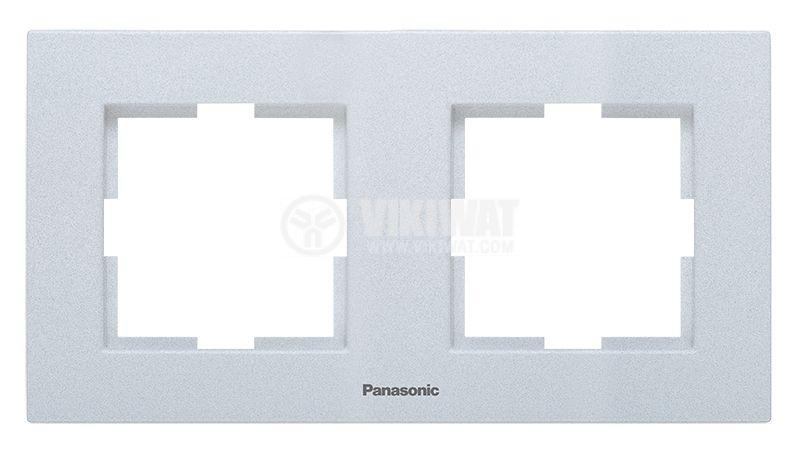 2-gang frame, Panasonic, horizontal, 81x154mm, silver, WKTF0802-2SL