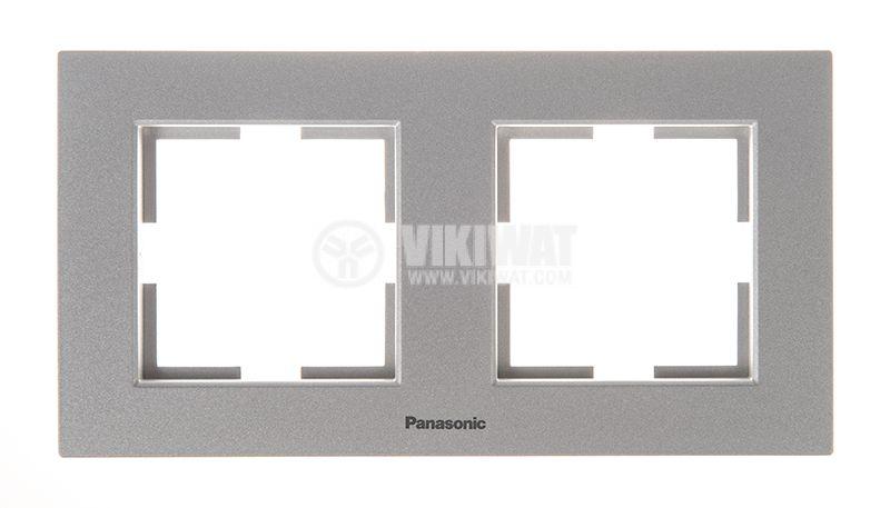 2-gang frame, Panasonic, horizontal, 81x154mm, silver, WKTF0802-2SL - 1