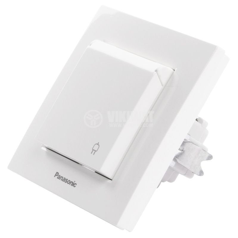Power electrical socket with cover for children protection, Panasonic, 16А, 250VAC, white, built-in, schuko - 4