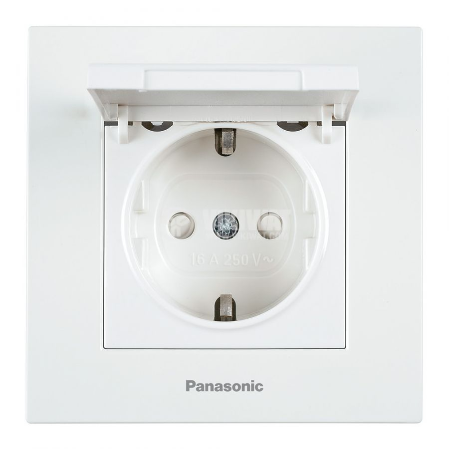 Power electrical socket with cover for children protection, Panasonic, 16А, 250VAC, white, built-in, schuko - 1