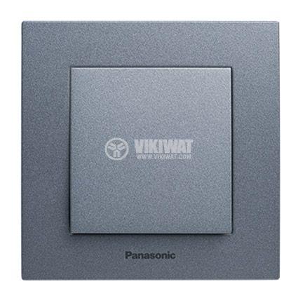 One-way Switch, Karre Plus, Panasonic, 10A, 250VAC, dark gray, WKTT0001-2DG, mechanism+rocker - 2