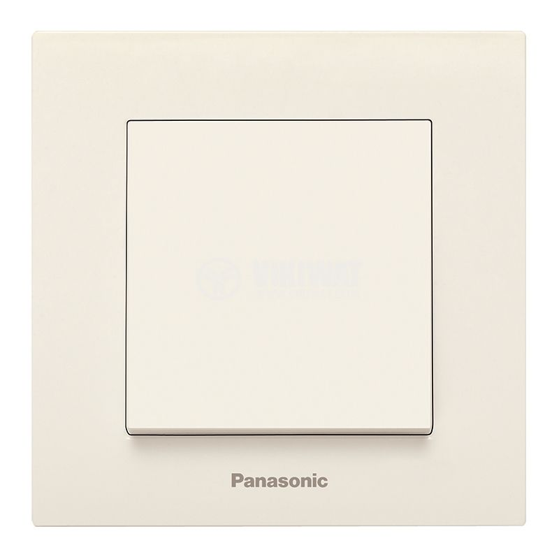 One-way switch, complete, Karre Plus, Panasonic, 10A, 250VAC, beige, WKTC0001-2BG