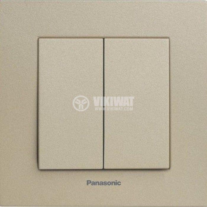 2-gang One-way Switch, Karre Plus, Panasonic, 10A, 250VAC, bronze, WKTT0009-2BR, mechanism+rocker - 2